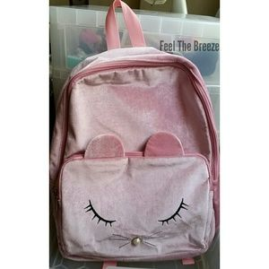 NWT Olivia Miller Girl Pink Cat Face Backpack